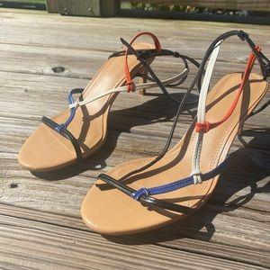 New Zara retro multi color scrappy leather heel